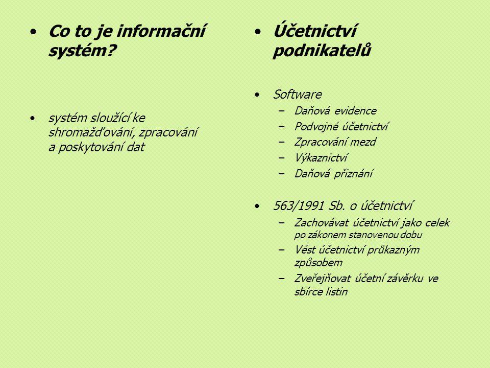 Co to je informační systém Účetnictví podnikatelů