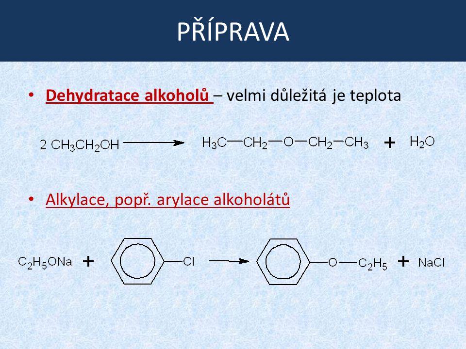 PŘÍPRAVA Dehydratace alkoholů – velmi důležitá je teplota