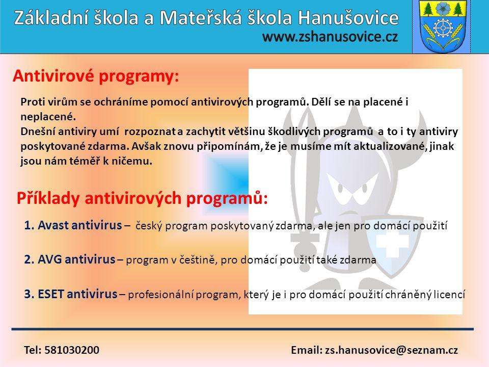 Příklady antivirových programů: