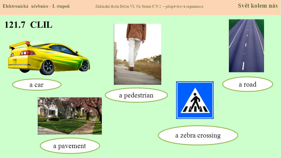 121.7 CLIL a road a car a pedestrian a zebra crossing a pavement