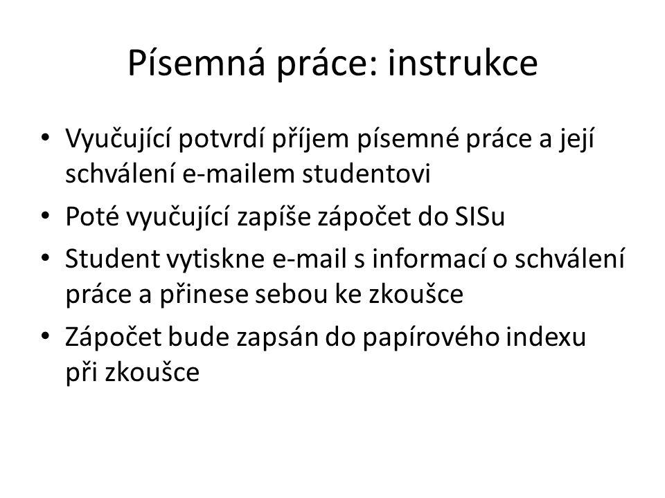 Písemná práce: instrukce