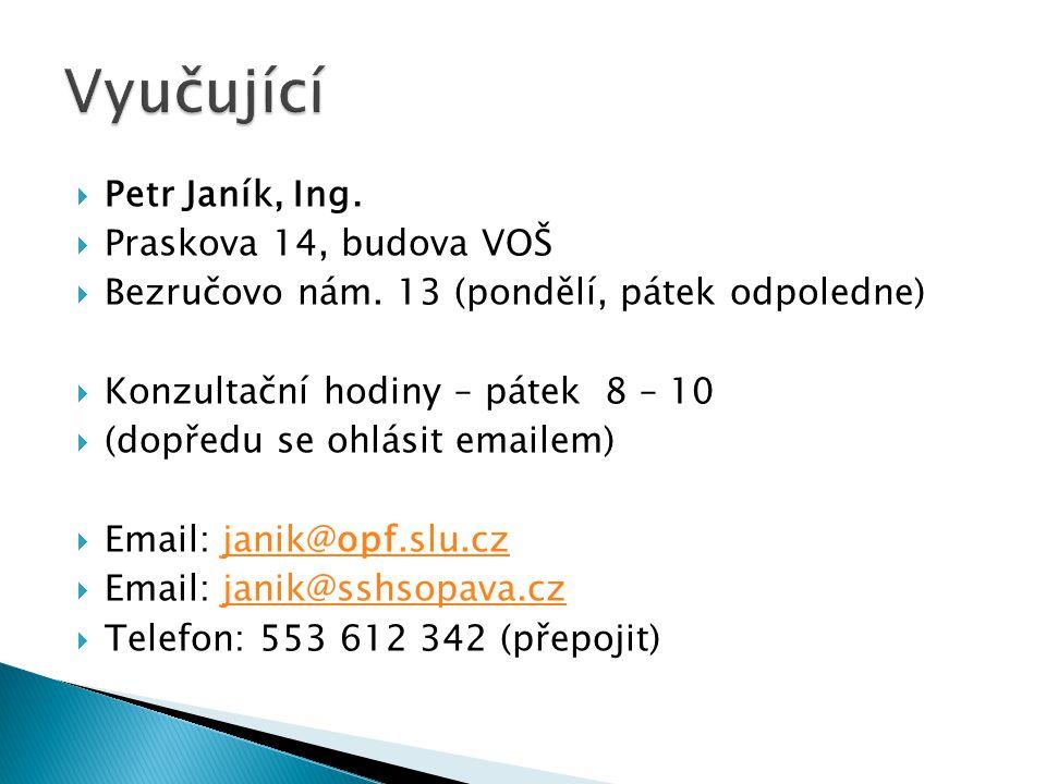Vyučující Petr Janík, Ing. Praskova 14, budova VOŠ