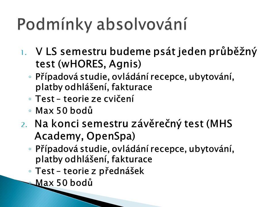 Podmínky absolvování V LS semestru budeme psát jeden průběžný test (wHORES, Agnis)
