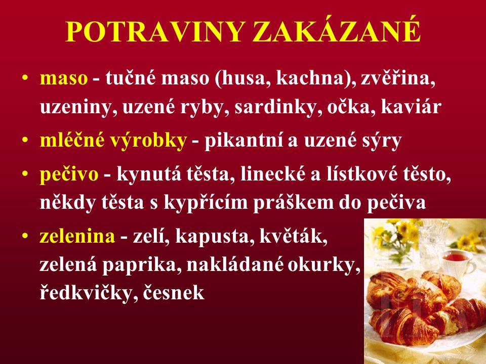 POTRAVINY ZAKÁZANÉ maso - tučné maso (husa, kachna), zvěřina, uzeniny, uzené ryby, sardinky, očka, kaviár.