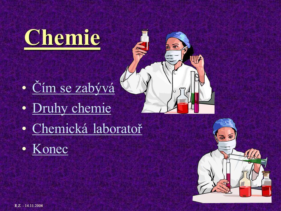 Chemie Čím se zabývá Druhy chemie Chemická laboratoř Konec