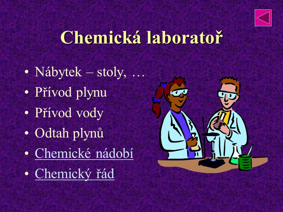 Chemická laboratoř Nábytek – stoly, … Přívod plynu Přívod vody