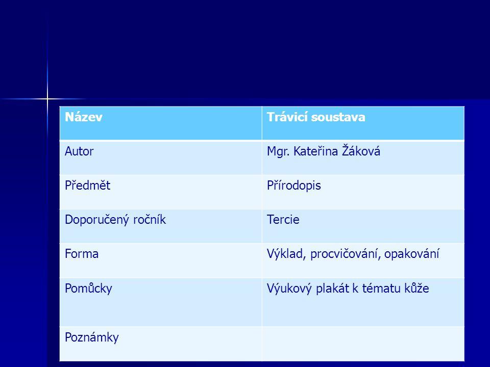 Název Trávicí soustava. Autor. Mgr. Kateřina Žáková. Předmět. Přírodopis. Doporučený ročník. Tercie.