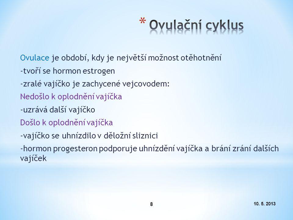Ovulační cyklus Ovulace je období, kdy je největší možnost otěhotnění