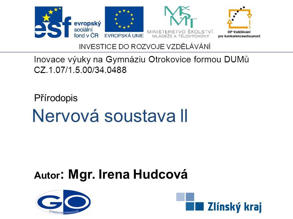 Nervová soustava ll Přírodopis Autor: Mgr. Irena Hudcová