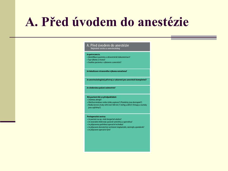 A. Před úvodem do anestézie