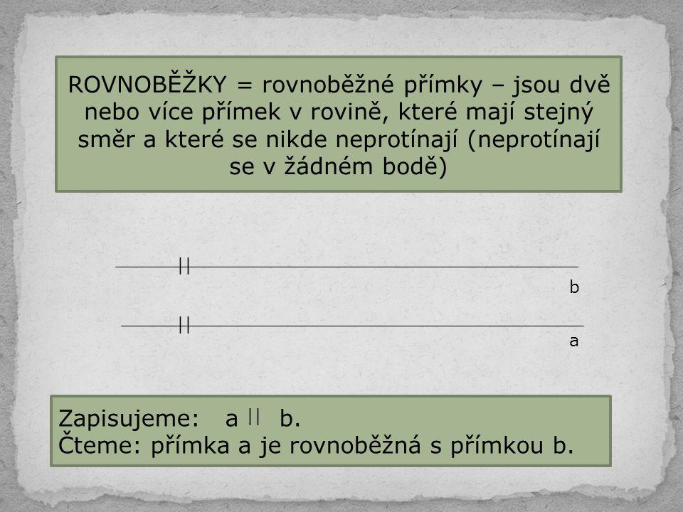 Čteme: přímka a je rovnoběžná s přímkou b.