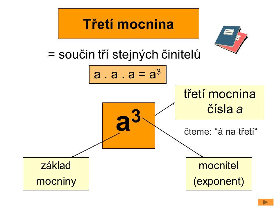 a3 Třetí mocnina = součin tří stejných činitelů a . a . a = a3
