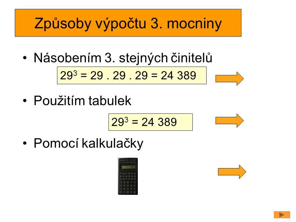 Způsoby výpočtu 3. mocniny