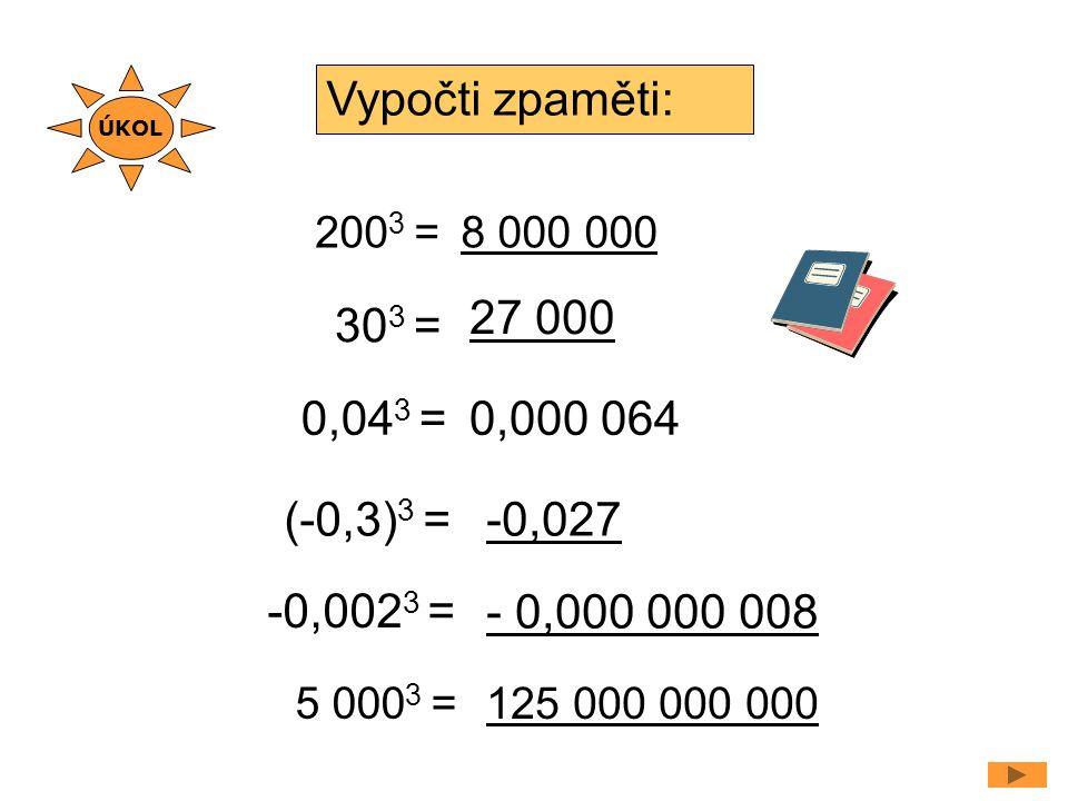Vypočti zpaměti: 27 000 303 = 0,043 = 0,000 064 (-0,3)3 = -0,027