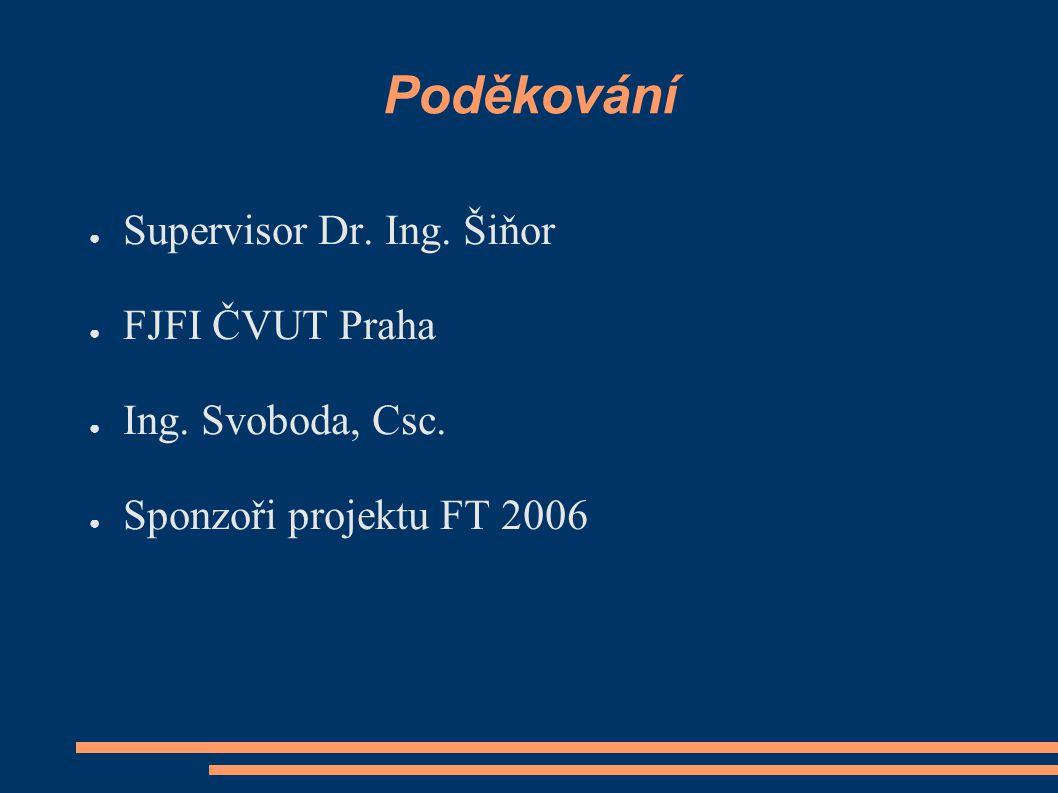 Poděkování Supervisor Dr. Ing. Šiňor FJFI ČVUT Praha