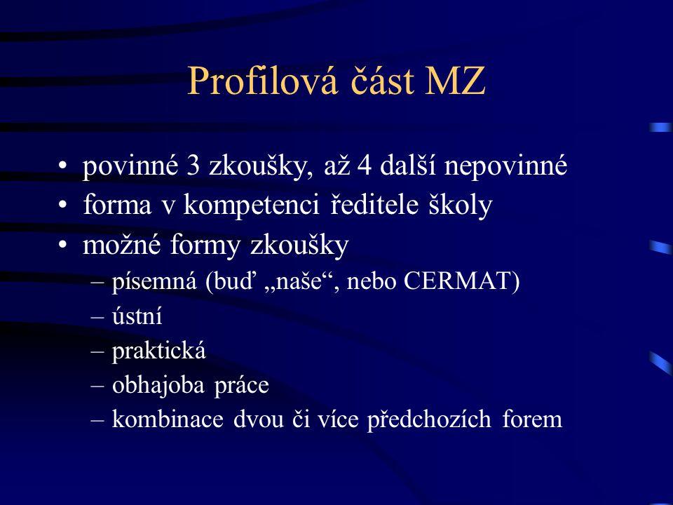 Profilová část MZ povinné 3 zkoušky, až 4 další nepovinné
