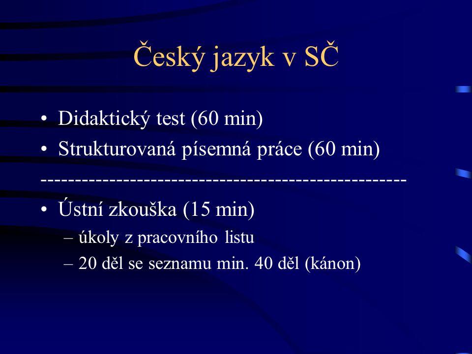 Český jazyk v SČ Didaktický test (60 min)