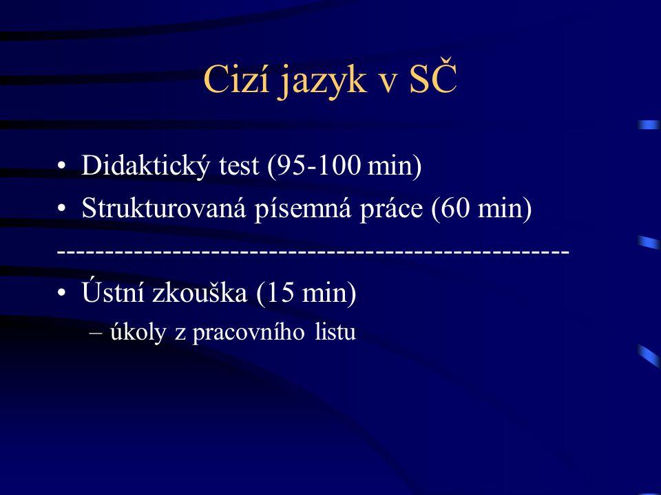 Cizí jazyk v SČ Didaktický test (95-100 min)