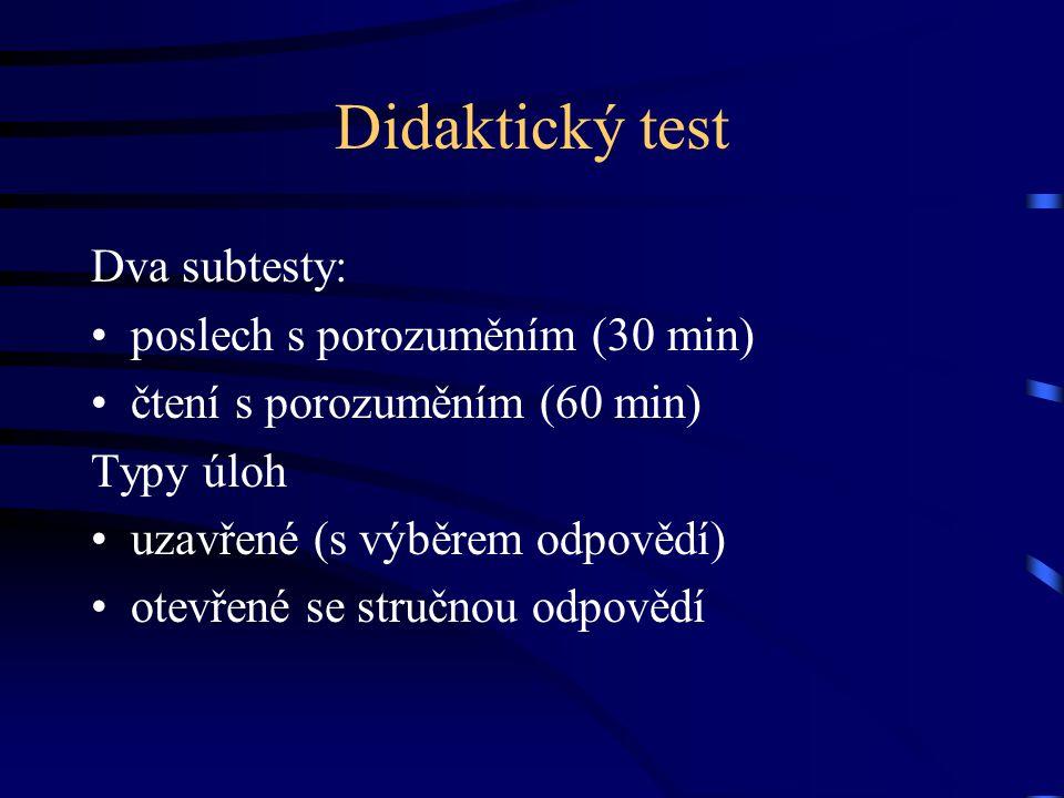 Didaktický test Dva subtesty: poslech s porozuměním (30 min)