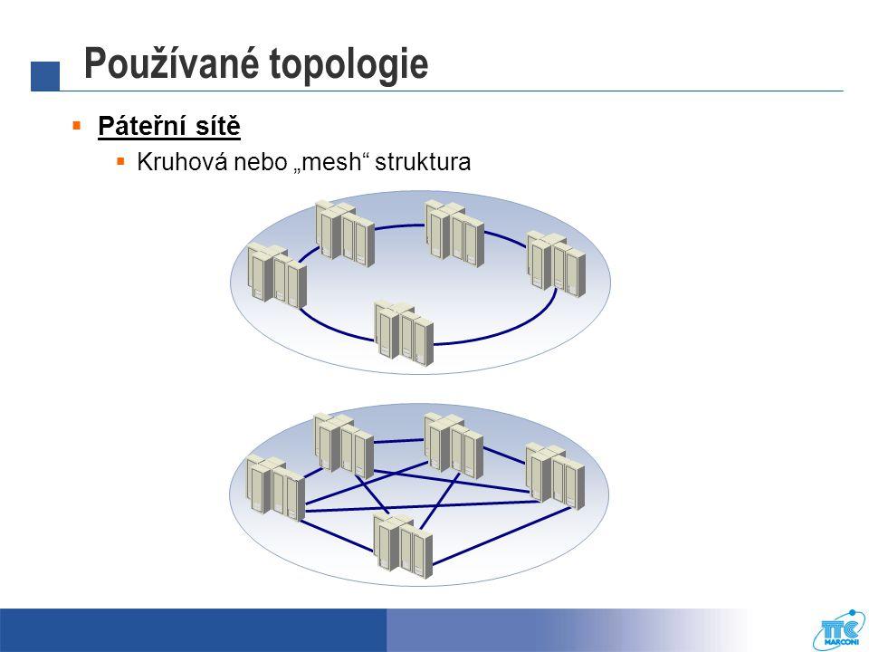 """Používané topologie Páteřní sítě Kruhová nebo """"mesh struktura"""