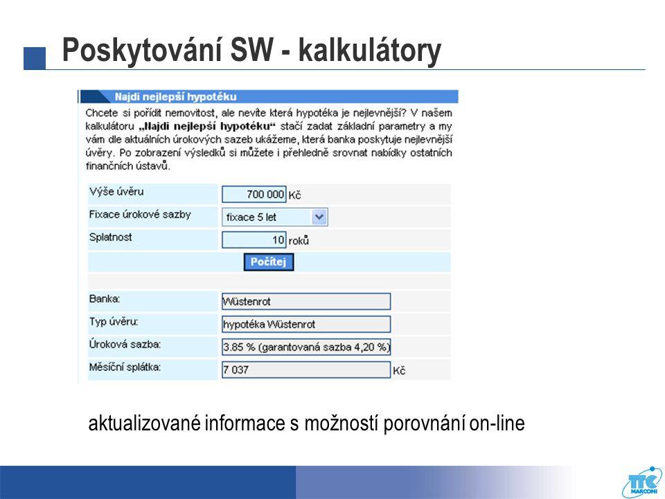Poskytování SW - kalkulátory
