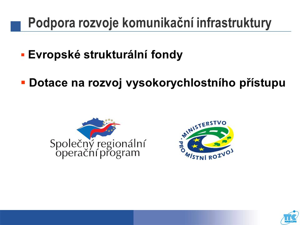 Podpora rozvoje komunikační infrastruktury