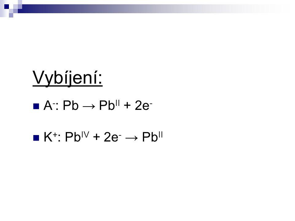 Vybíjení: A-: Pb → PbII + 2e- K+: PbIV + 2e- → PbII
