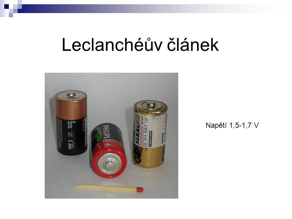 Leclanchéův článek Napětí 1,5-1,7 V