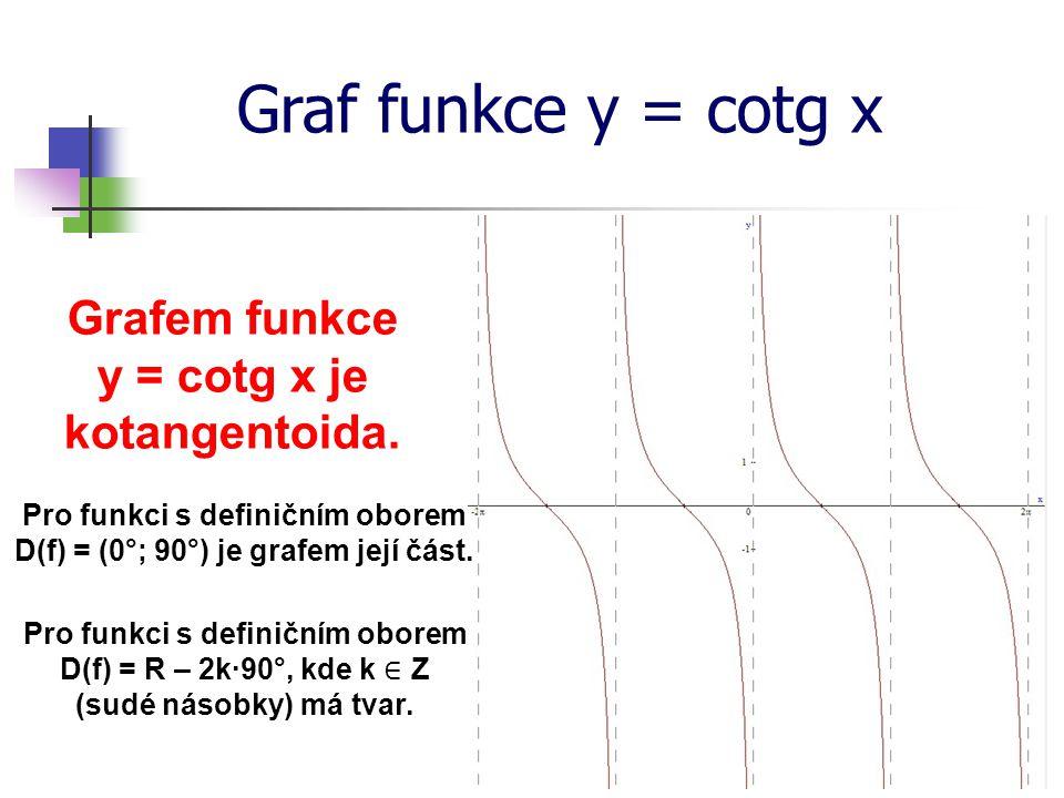 Graf funkce y = cotg x Grafem funkce y = cotg x je kotangentoida.