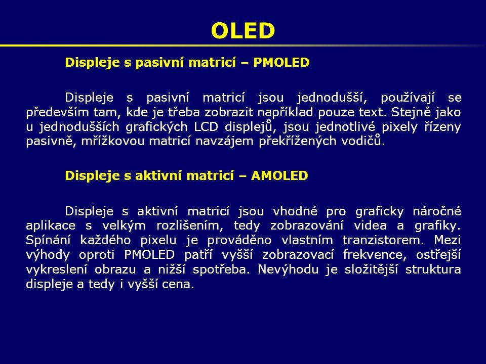 OLED Displeje s pasivní matricí – PMOLED