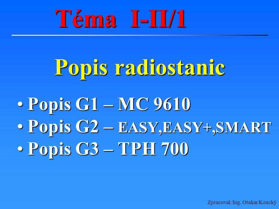 Téma I-II/1 Popis radiostanic Popis G1 – MC 9610