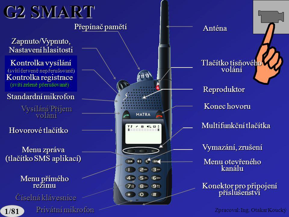 G2 SMART Kontrolka vysílání Kontrolka registrace Hovorové tlačítko