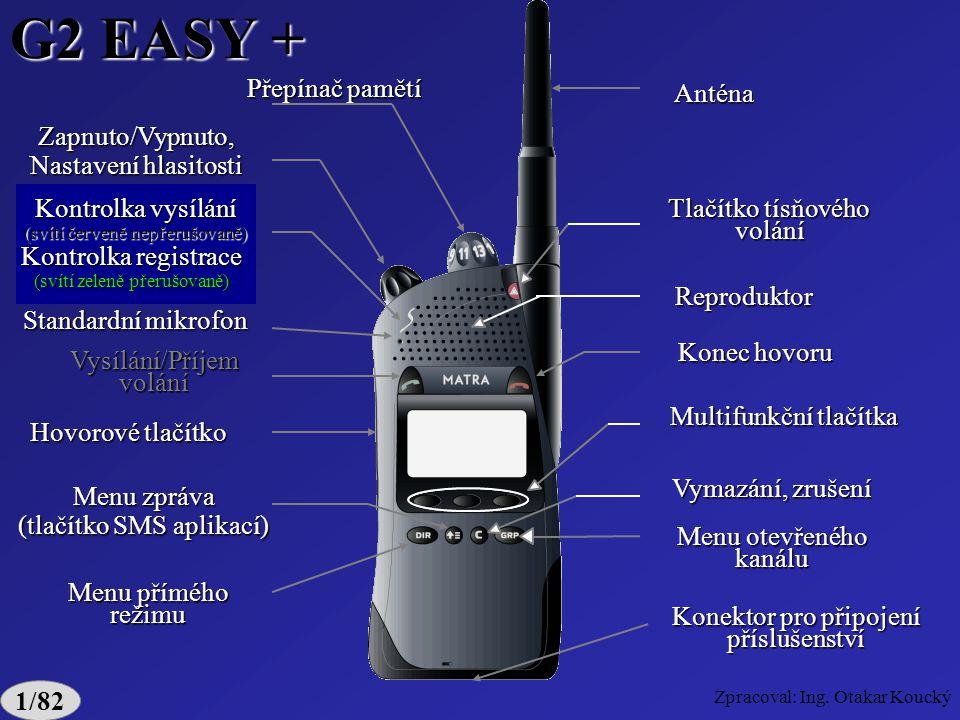 G2 EASY + Kontrolka vysílání Kontrolka registrace Hovorové tlačítko