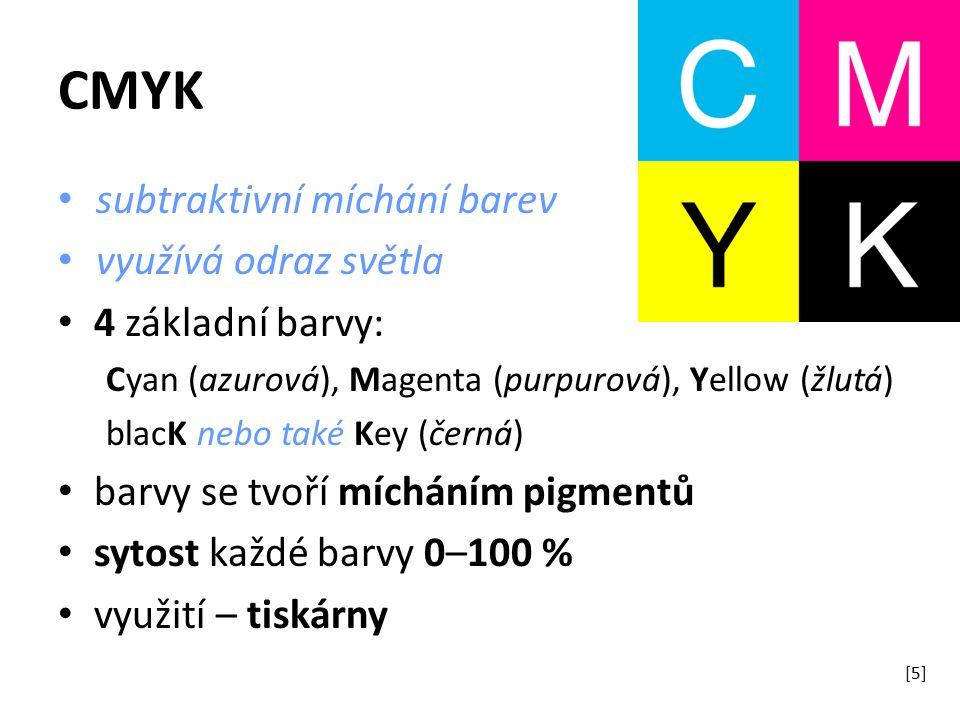 CMYK subtraktivní míchání barev využívá odraz světla 4 základní barvy: