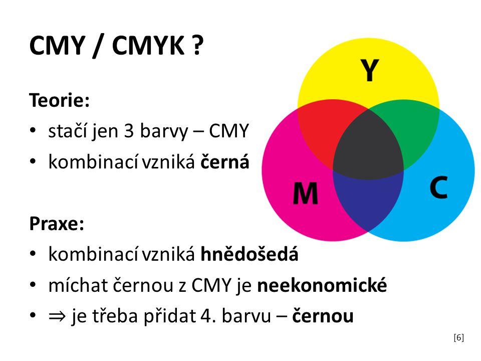 CMY / CMYK Teorie: stačí jen 3 barvy – CMY kombinací vzniká černá