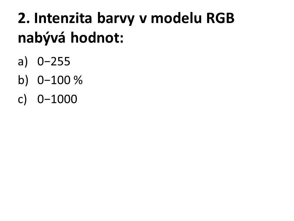 2. Intenzita barvy v modelu RGB nabývá hodnot: