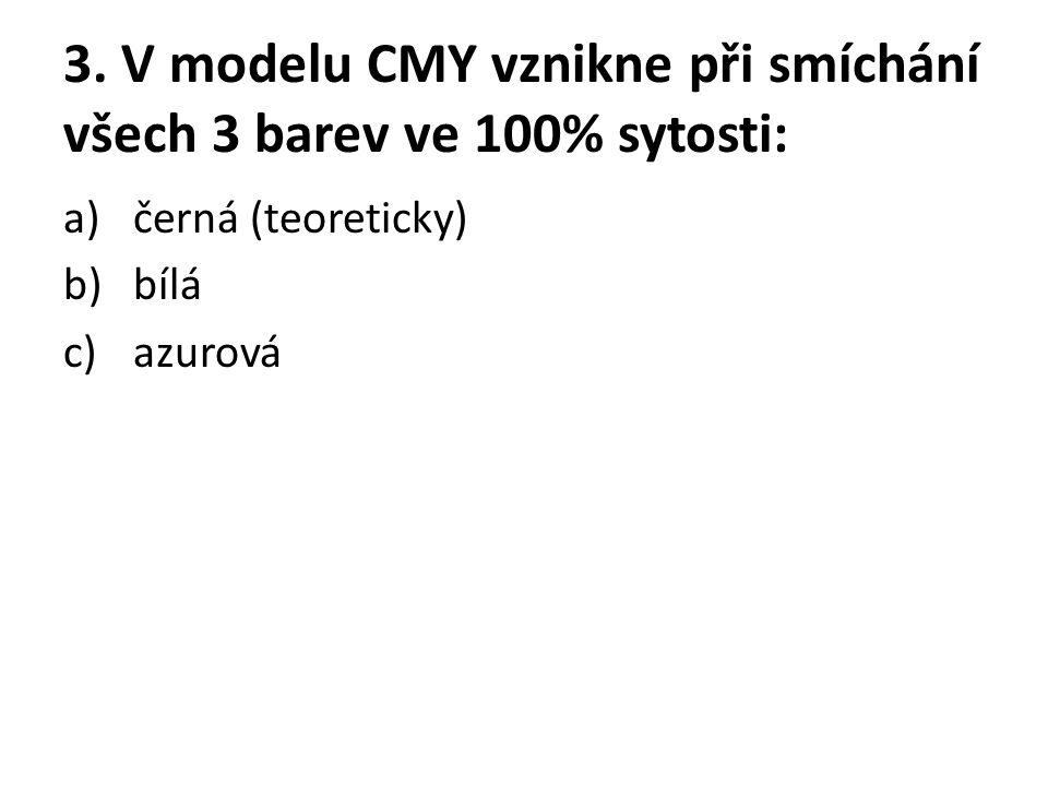 3. V modelu CMY vznikne při smíchání všech 3 barev ve 100% sytosti: