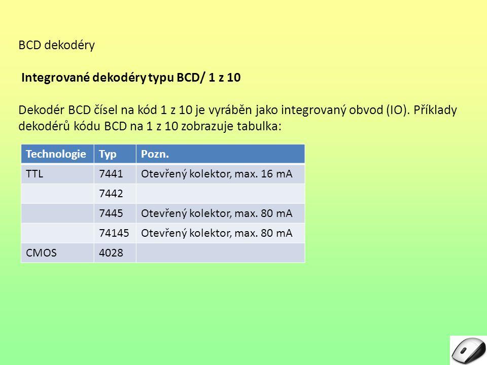 Integrované dekodéry typu BCD/ 1 z 10