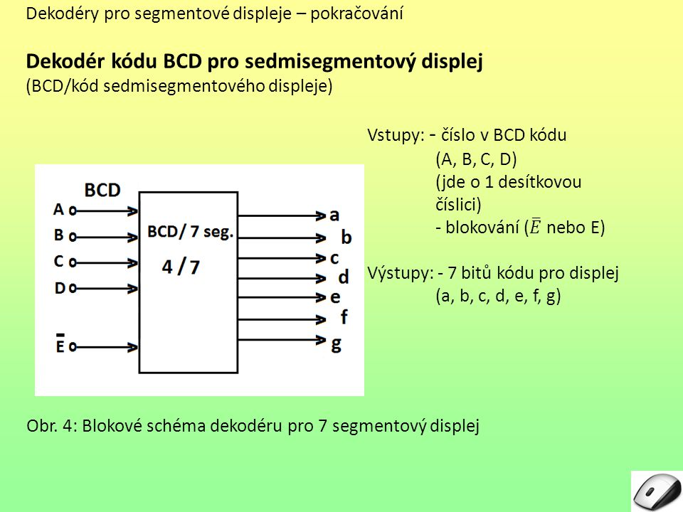 Dekodér kódu BCD pro sedmisegmentový displej