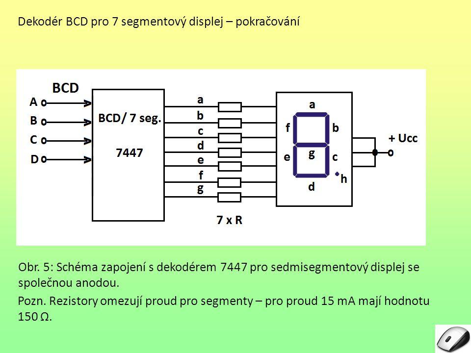 Dekodér BCD pro 7 segmentový displej – pokračování