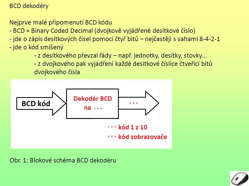 BCD dekodéry Nejprve malé připomenutí BCD kódu. - BCD = Binary Coded Decimal (dvojkově vyjádřené desítkové číslo)
