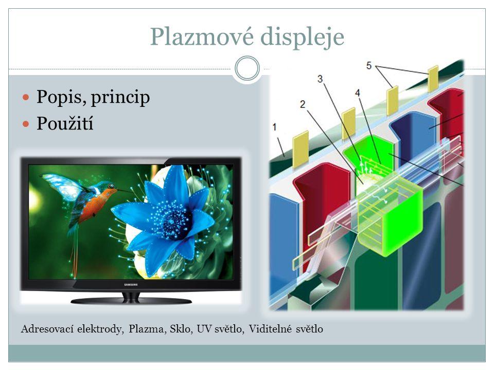 Plazmové displeje Popis, princip Použití