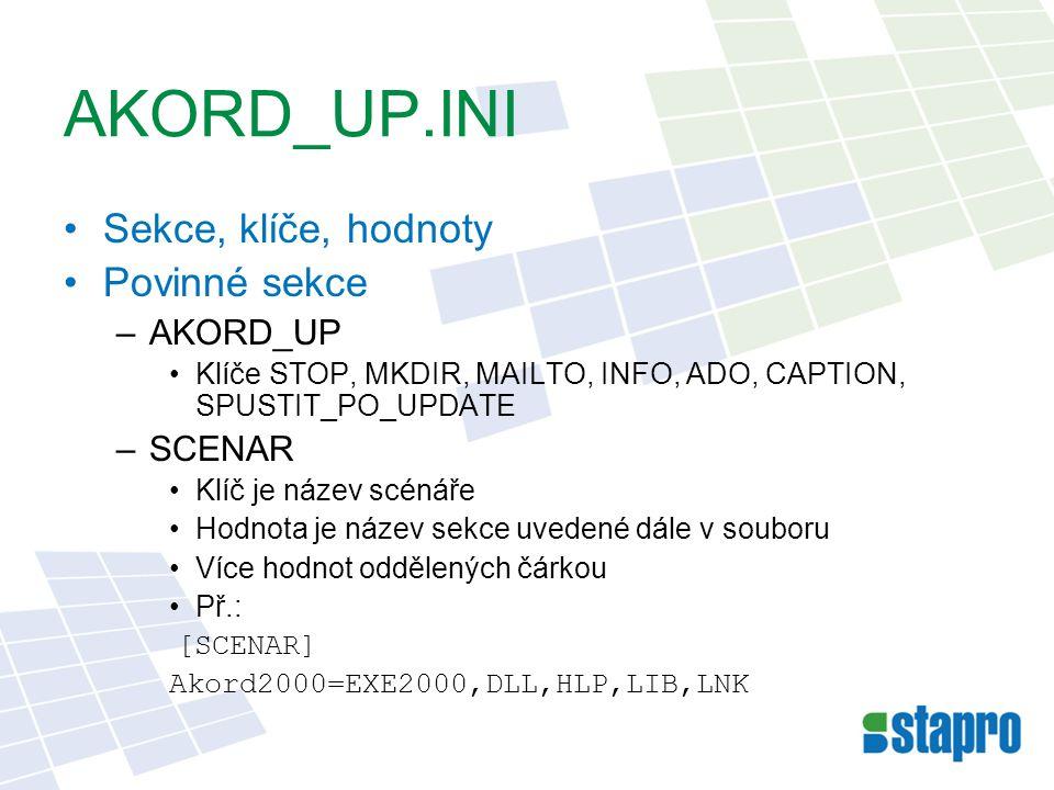 AKORD_UP.INI Sekce, klíče, hodnoty Povinné sekce AKORD_UP SCENAR