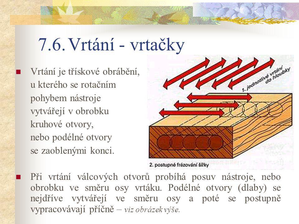 7.6. Vrtání - vrtačky Vrtání je třískové obrábění,