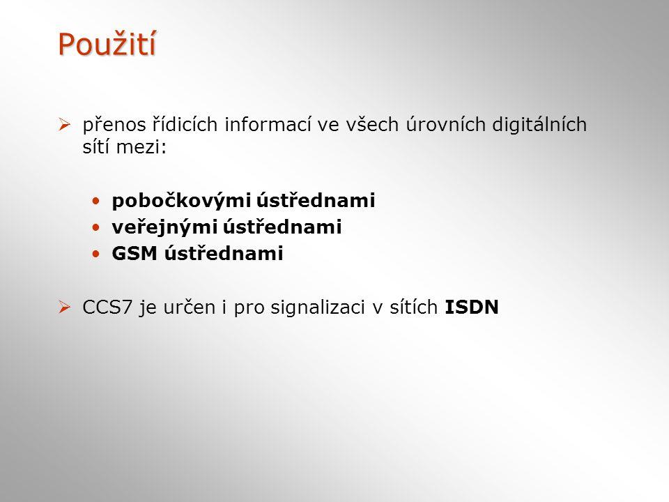 Použití přenos řídicích informací ve všech úrovních digitálních sítí mezi: pobočkovými ústřednami.