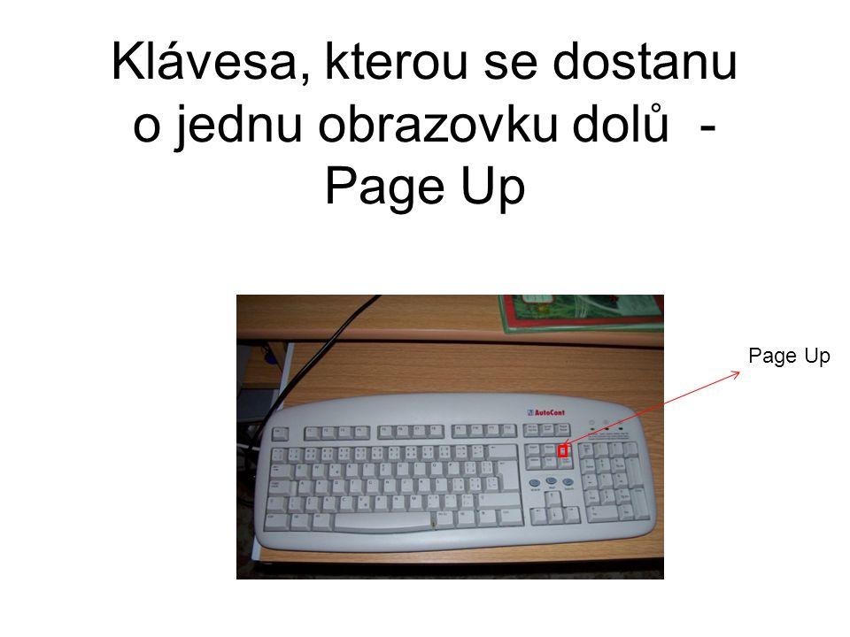 Klávesa, kterou se dostanu o jednu obrazovku dolů - Page Up