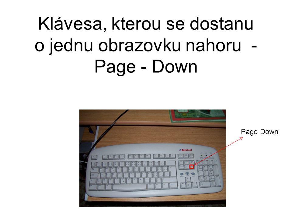 Klávesa, kterou se dostanu o jednu obrazovku nahoru - Page - Down