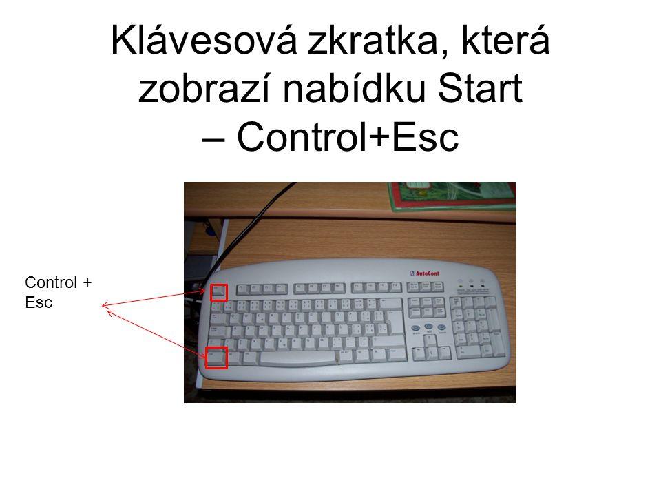 Klávesová zkratka, která zobrazí nabídku Start – Control+Esc