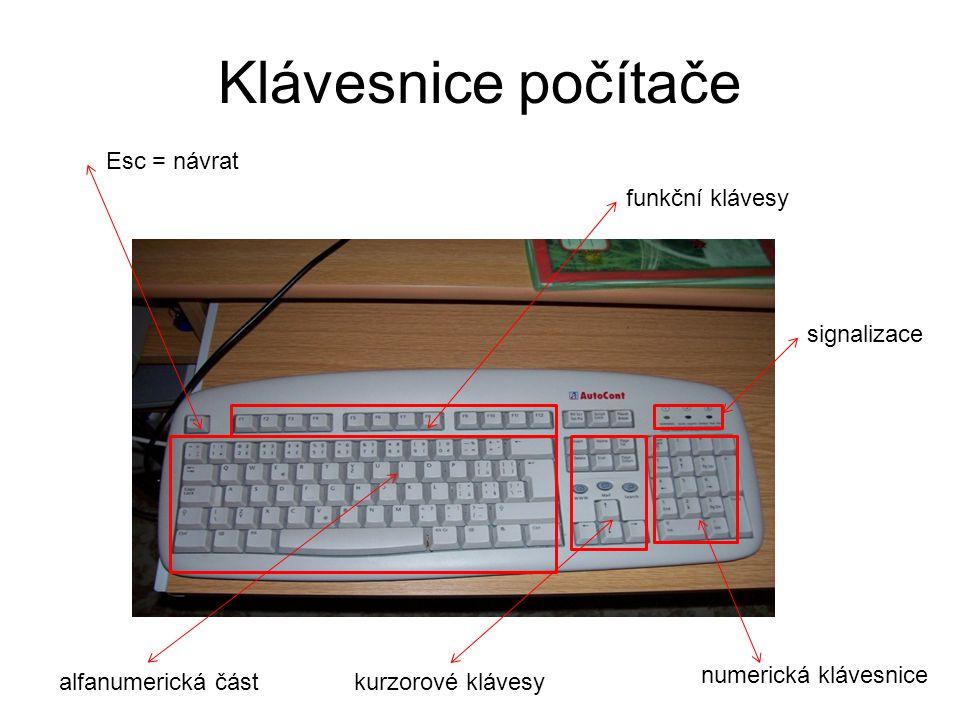 Klávesnice počítače Esc = návrat funkční klávesy signalizace