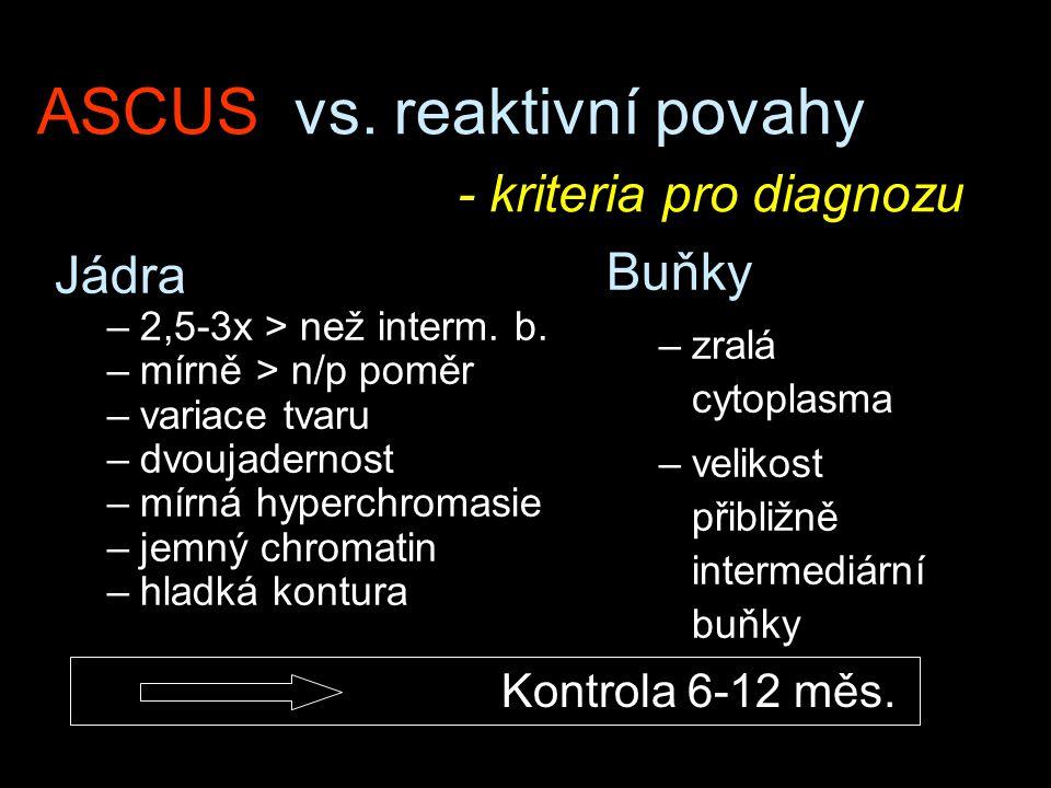 ASCUS vs. reaktivní povahy - kriteria pro diagnozu